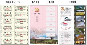秋田新幹線開業20周年記念入場券デザイン