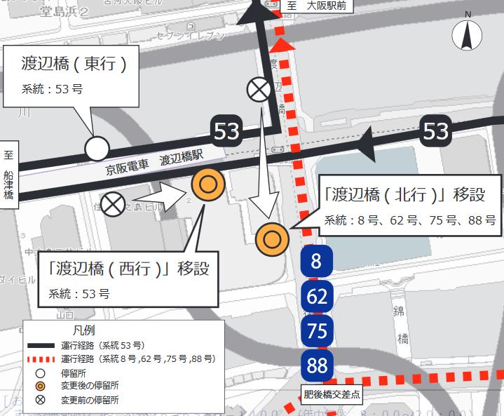 「渡辺橋(北行)」停留所を移設