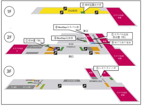 スタンプラリー対象店舗位置図